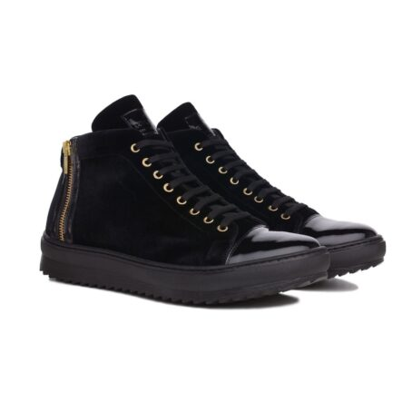 Black velvet sneakers with patent tip 5