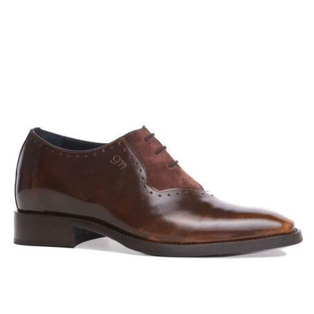 Patina and suede brogue oxford shoes 1