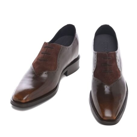 Patina and suede brogue oxford shoes 2