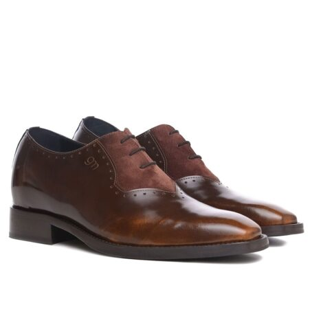 Patina and suede brogue oxford shoes 5
