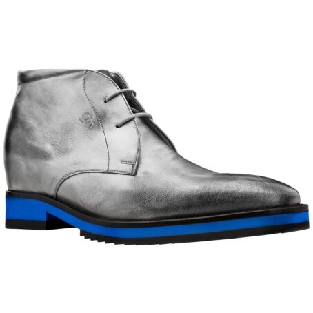 Silver ankle boots with blue sole 1