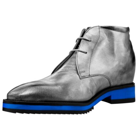 Silver ankle boots with blue sole 3