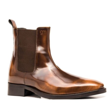 Patina patent brownl ankle boots 1