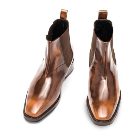 Patina patent brownl ankle boots 2