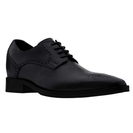 Black leather derby shoes with brogue decoration 1