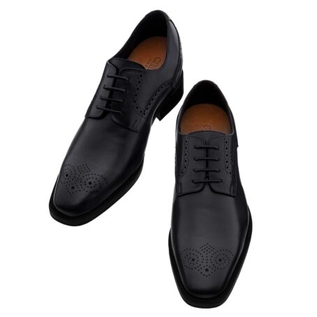 Black leather derby shoes with brogue decoration 2