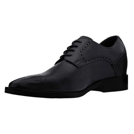 Black leather derby shoes with brogue decoration 3