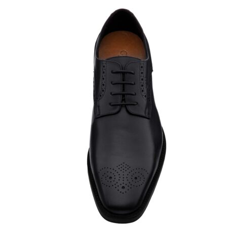 Black leather derby shoes with brogue decoration 4
