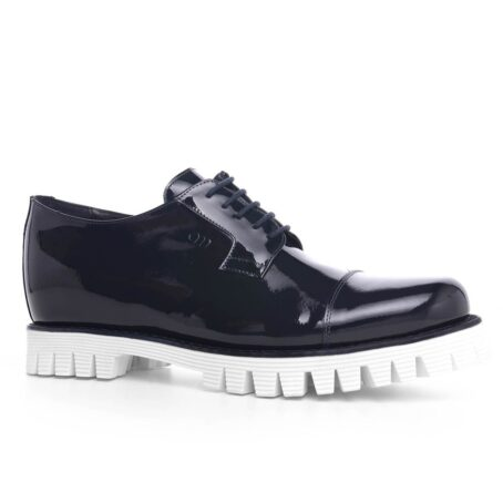 Patent black dress shoes with white sole 1