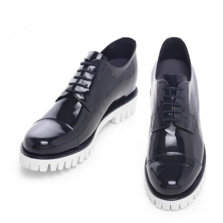 Patent black dress shoes with white sole 2