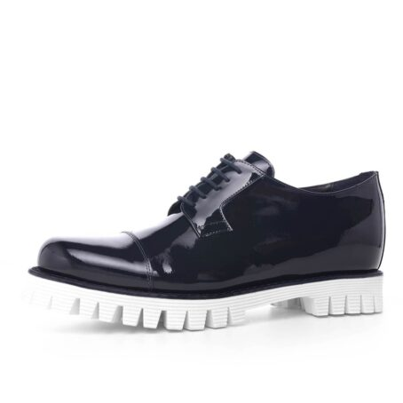 Patent black dress shoes with white sole 3