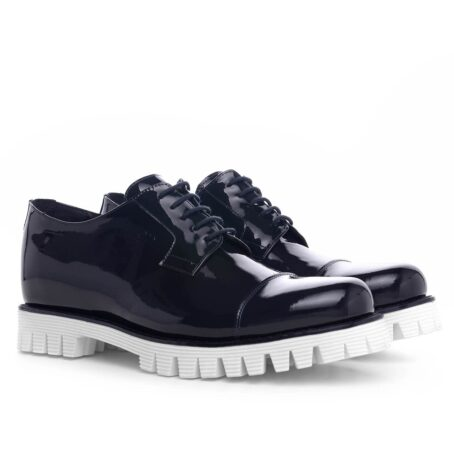 Patent black dress shoes with white sole 5