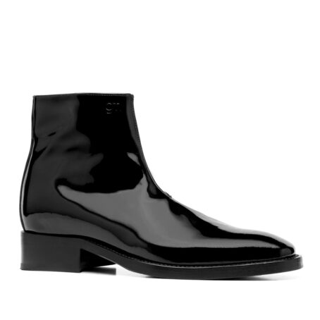 Patent black leather ankle boots 1