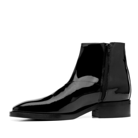 Patent black leather ankle boots 3