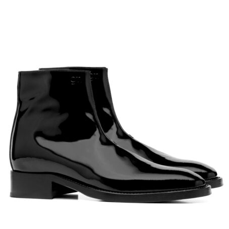 Patent black leather ankle boots 5