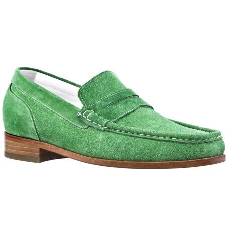 Man wearing mint green suede mocassini 1