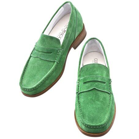 Man wearing mint green suede mocassini 2