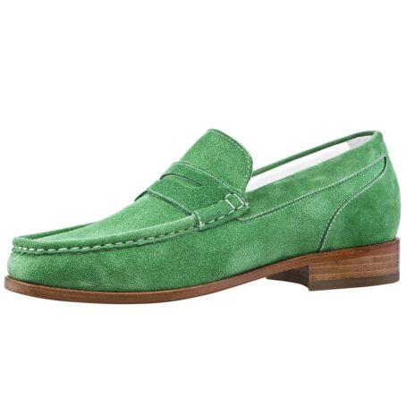 Man wearing mint green suede mocassini 3