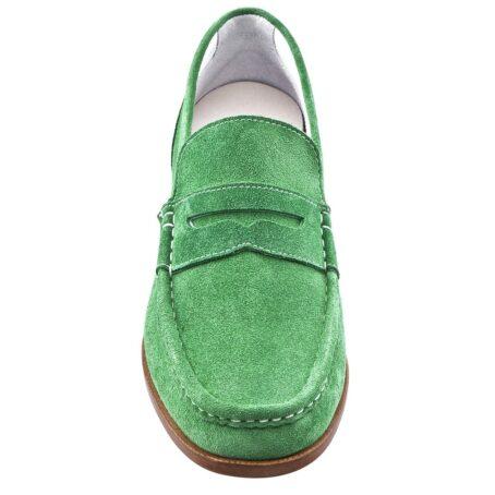 Man wearing mint green suede mocassini 4