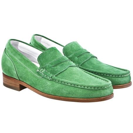 Man wearing mint green suede mocassini 5