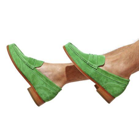 Man wearing mint green suede mocassini 6