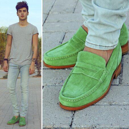 Man wearing mint green suede mocassini 7