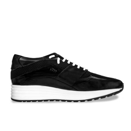 Black leather sneakers with increasing insole 1