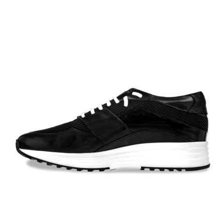Black leather sneakers with increasing insole 3