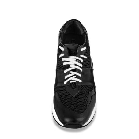 Black leather sneakers with increasing insole 4