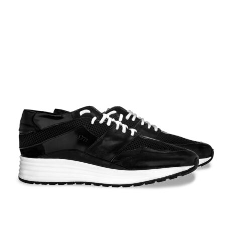 Black leather sneakers with increasing insole 5
