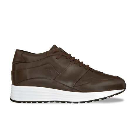 Brown leather sneakers with increasing insole 1