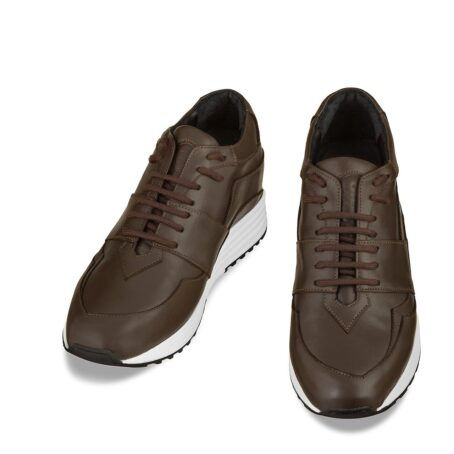 Brown leather sneakers with increasing insole 2