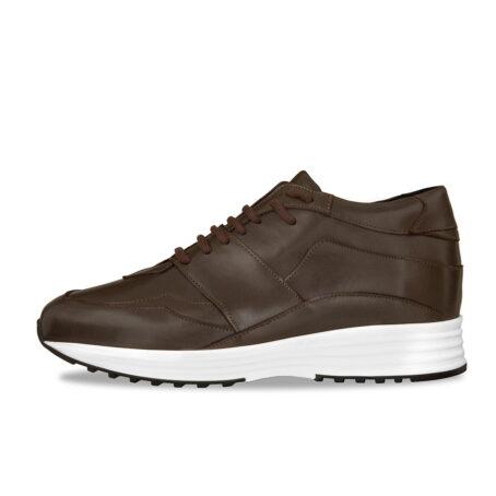 Brown leather sneakers with increasing insole 3