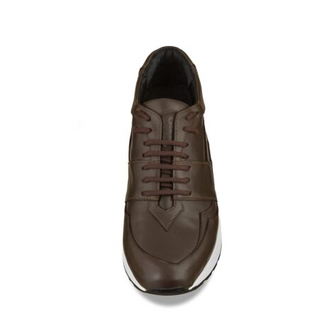 Brown leather sneakers with increasing insole 4
