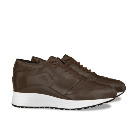Brown leather sneakers with increasing insole 5