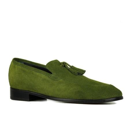 Green suede tassel loafers 1