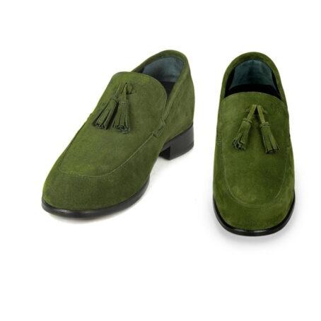 Green suede tassel loafers 2