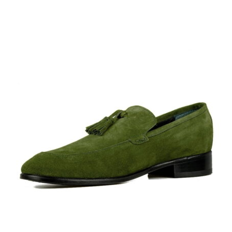 Green suede tassel loafers 3