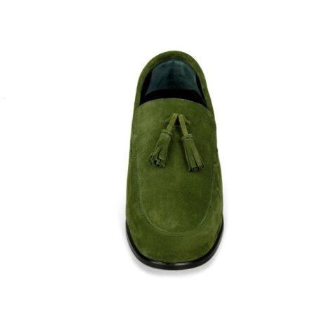Green suede tassel loafers 4