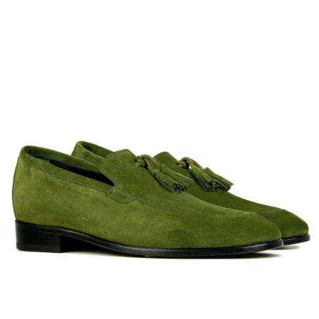 Green suede tassel loafers 5