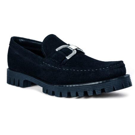Black suede horsbit loafers 1