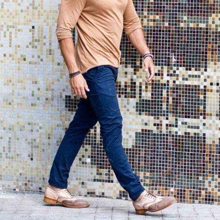 Man wearing vintage brogue oxford shoes