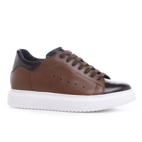 Brown leather sneakers 1