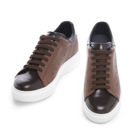 Brown leather sneakers 2