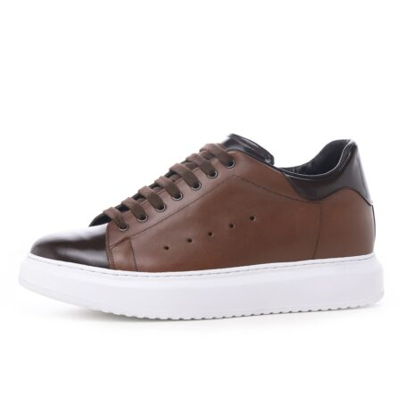 Brown leather sneakers 3