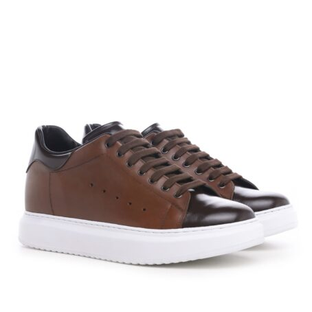Brown leather sneakers 5