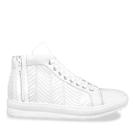 White leather elevator sneaker 1