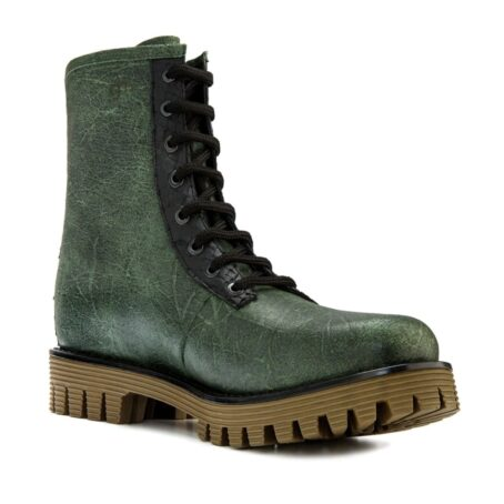 Man wearing green leather boots 1