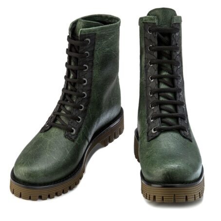 Man wearing green leather boots 2