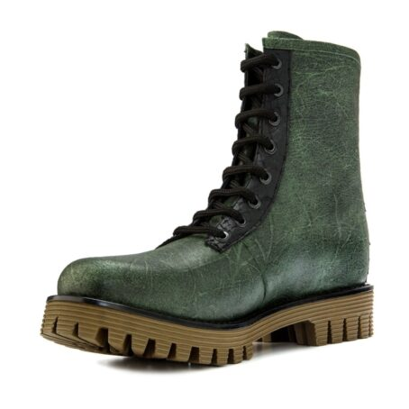 Man wearing green leather boots 3
